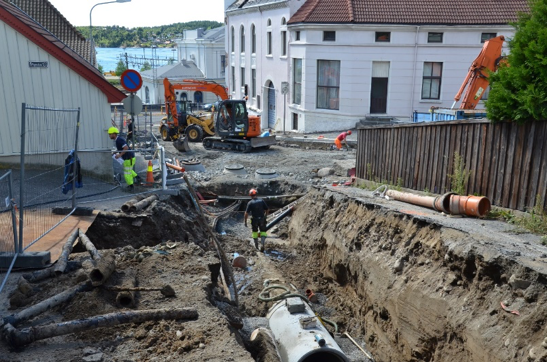 Nye rørtraseer legges i sentrum av Larvik