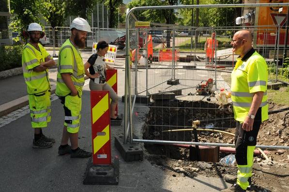 All utbygging av vann- og avløp i Norge er basert på selvkostprinsippet. Abbonentene må betale for drift og utbygging. Her fra et fornyingsprosjekt i Drammen sentrum.